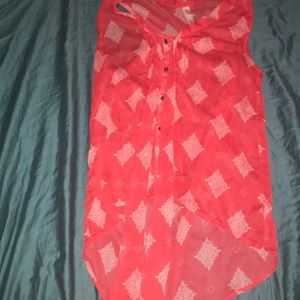 Red throw over with ties